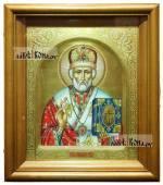 Писаная икона Николая Чудотворца с арочным ковчегом и чеканкой - вид в киоте
