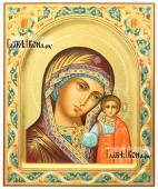 Казанская, писаная икона: арка, чеканка, узоры
