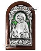 Серебряная иконка Серафима Саровского арочная покрытая эмалью