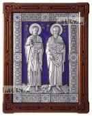 Серебряная икона Петра и Павла со стразами в рамке с эмалью