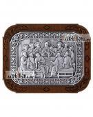 Тайная Вечеря, икона из серебра в рамке из дерева, артикул 11244
