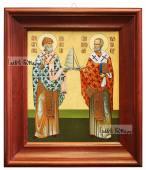 Спиридон и Николай икона в деревянном киоте 26х30 см
