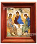 Троица икона в деревянном киоте 26х30 см
