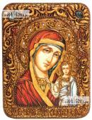 Икона Казанской, сделанная вручную на мореном дубе