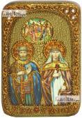 Петр и Феврония поясные с Троицей - икона на дубе 10х15 см