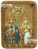 Петр и Феврония поясные с Троицей икона на дубе 15х20 см