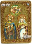 Петр и Феврония, поясные, с Троицей, икона на мореном дубе, 21х29 см