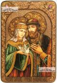 Петр и Феврония, поясные, с голубем, икона на мореном дубе, 21х29 см