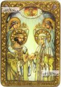 Петр и Феврония, поясные, венчание, икона на мореном дубе 21х29 см