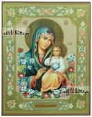 Неувядаемый Цвет Божия Матерь печатная икона с узорами