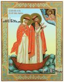 Петр и Феврония в лодке печатная икона с узором