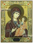 Иверская Божия Матерь печатная икона с узором