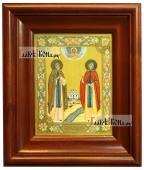 Петр и Феврония монашеские икона печатная в киоте