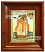 Петр и Феврония в лодке икона печатная в киоте