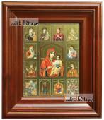 Собор Богородиц с Иерусалимской, икона печатная в киоте