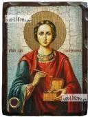 Пантелеимон Целитель в живописном стиле состаренная икона 18х24 см