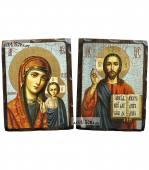 Казанская и Спаситель пара, состаренные иконы 18х24 см