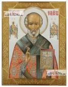 Николай Чудотворец с предстоящими, печатная на доске икона