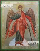 Ангел Хранитель ростовой, в красных одеждах, икона литография