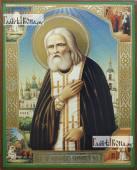 Серафим Саровский с четками, с житием, икона литография