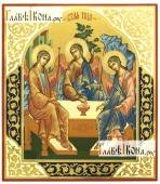 Икона Троицы написанная темперой чеканка с золочением