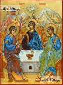 """Троица """"Армянская"""", рукописная икона, с Араратом и Ноевым ковчегом"""