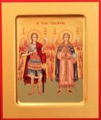 Михаил и Гавриил архангелы печатная на дереве икона