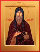 Агапит Печерский преподобный, икона печатная на дереве