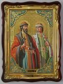 Святые Борис и Глеб, поясные, икона храмовая