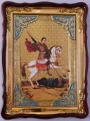 Георгий Победоносец, убивающий змея, икона храмовая