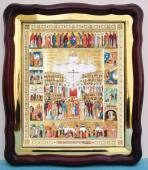 Собор Новомучеников с житием большая аналойная икона 43 х 50 см