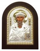 Спиридон Тримифунтский икона в посеребренном окладе