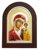 Казанская Божия Матерь икона в посеребренном окладе с эмалью