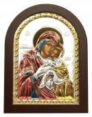Сладкое Лобзание (Гликофилусса) Божия Матерь, икона в посеребренном окладе (с эмалью)