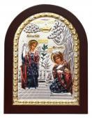 Благовещение икона в посеребренном окладе с эмалью