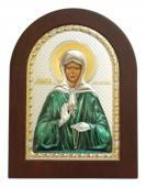 Матрона Московская греческая икона в серебряном окладе с цветной эмалью