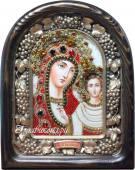 Казанская икона Божией матери из бисера с камнями