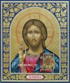 Икона Спасителя на золотом фоне с чеканкой и росписью, артикул 626
