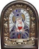 Остробрамская Божия Матерь икона из бисера в киоте