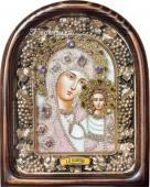 Казанская БМ икона сделанная бисером в киоте