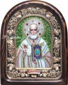 Икона Николая Чудотворца без митры из бисера