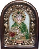 Икона Дмитрия Солунского из бисера в киоте
