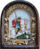 Икона Георгия победоносца из бисера