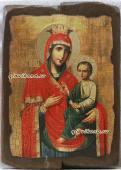 Скоропослушница Божия Матерь икона под старину на дереве 19х27 см