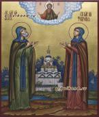 Икона Петр и Феврония подарочная писаная икона с пейзажем артикул 814