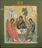 Троица Ветхозаветная икона писанная в стиле палеха артикул 906
