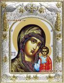 Казанская Божия Матерь белый фон икона в ризе артикул 41259