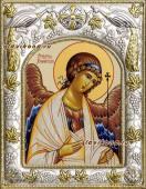 Ангел Хранитель, икна печатная в окладе с греческим рисунком