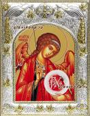 Архангел Михаил икона печатная в окладе с греческим рисунком