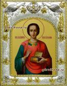 Целитель Пантелеймон живописный икона в ризе артикул 41508